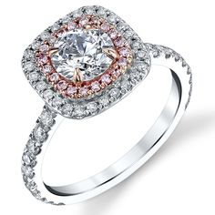 MARGEAUX PART DEUX--Double halo version of our style MARGEAUX halo engagement ring, French pave set 75% around