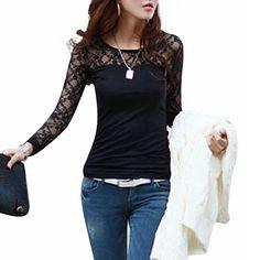 34b253f8547 Blusas Femininas 2015 Musim Semi Musim Gugur Womens Mode Sexy Tops Kemeja  Slim Lace Panjang Lengan O-Neck Leisure Blouse Hitam Putih