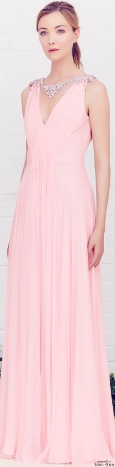 Jenny Packham Resort 2016. I may not be a fan of any shade of pink, but this deep-v-neck pastel gown is so feminine and respectable, and let's not forget the fantastic addition of the jeweled neckline adornment. That really makes this dress the beauty that it is. Plus, it's refreshing having the jewels along the neckline, rather than as an addition to an empire waistline and such.