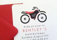 Red Dirt Bike Birthday Party Invitation