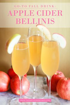Looking for a fresh apple cider cocktail this fall? Give these delicious apple cider bellinis a try! They're the perfect seasonal drink for holiday parties! Prosecco Sparkling Wine, Champagne Drinks, Cocktail Drinks, Fun Drinks, Cocktail Recipes, Beverages, Drink Recipes, Yummy Recipes, Apple Cider Cocktail