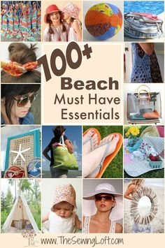 100+ Beach Must Haves. These patterns are easy to sew for any skill level. Includes a wide range of styles including: cover ups, games, bags and more. #Beach #Summer