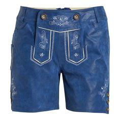 (blau) Damen Trachtenledershorts - trendige Shorts aus weichem Leder von Brandl Tracht, klassische Stickereien, Bund mit Gürtelschlaufen, traditioneller Verschluss mit Hornknöpfen, zwei Eingrifftaschen, klei