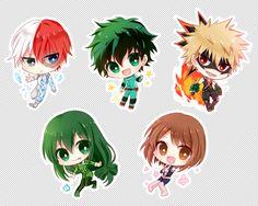 Boku no Hero Academia || Todoroki Shouto, Midoriya Izuku, Katsuki Bakugou, Tsuyu Asui, Uraraka Ochako.