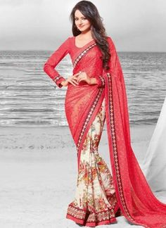 Hot Pink Off White Border Work Fancy Half N Half Printed Designer Sarees http://www.angelnx.com/Sarees/Designer-Sarees