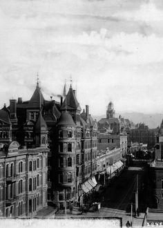 Hollenbeck Hotel, Second & Spring Streets, Los Angeles. Circa 1887 vintage Los Angeles photo.