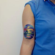 beautiful sailing boat tattoo