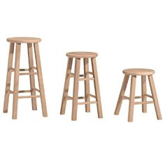 Whitewood Round Top Stool    Solid Parawood    Ready to Stain or Paint    Choose from 18″ Chair height, 24″ Counter height, or 30″ Bar height    12″ round top  Price: $54.99