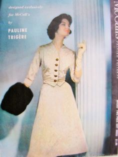 1950s Lovely Pauline Trigere Two Pc Suit Dress Pattern Exclusive Design McCalls 4255 Day or Evening Beautiful Fitted Waistcoat Style Jacket Crushed Waist Sides Flattering Flared Skirt Bust 34 Vintage Sewing Pattern