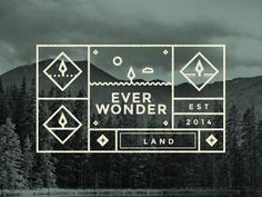 Everwonder labels #vector #iconography #branding #icons #label #texture #grid #gif #logo #forest #web #green