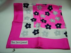 60s Yves Saint Laurent YSL Hot Pink Silk Scarf by Vintageables