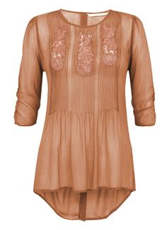 boho tunic for summer 2014 -Lace Insert and Pintuck Elbow Sleeve Blouse in Sedona   Fashion   Nougat London