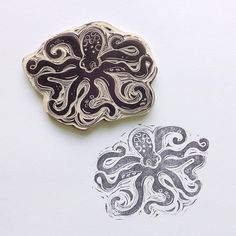 Octopus Rubber Stamp Hand Carved Beach Theme Sea Life Stamp