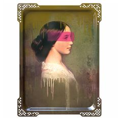 Ida 5 Portrait Wall Art Tray: Ida 5 tray, from the Galerie de Portraits collection by Ibride.  Ida, the Muse, beautiful alone or hung with the rest of the series of 6. Handcrafted in France and designed as a decorative wall hanging  or a serving tray. Heat and water resistant. Equipped with a hook for wall hanging.