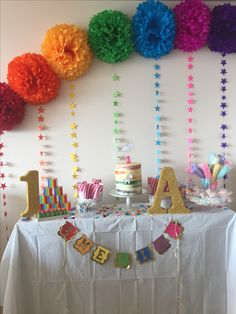 Ideas for birthday decorations office pom poms Sleepover Birthday Parties, Office Birthday, Lego Birthday Party, Unicorn Birthday Parties, Unicorn Party, Simple Birthday Decorations, Birthday Gifts For Husband, Class Decoration, Backdrops For Parties
