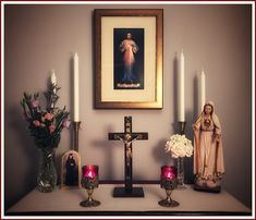 """I desire that this Image be venerated. This Image is to be a reminder of the demands of My mercy, because even the strongest faith is of no avail without works. By means of this Image, I shall b… Prayer Corner, Prayer Wall, Prayer Room, Home Altar Catholic, Catholic Prayers, Altar Design, Catholic Religion, Altar Decorations, Divine Mercy"