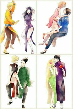 Naruto Couples ♥♥♥ NaruHina, ShikaTema, SasuSaku, InoSai ♥ #Beautiful #Cute #FanArt