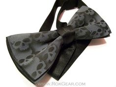 Skull bow tie mens adjustable collar band bow tie