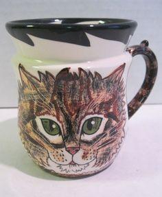 Coffee Cup Mug Green Eyed Cat Coffee Mug Cats by Nina | eBay