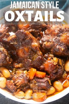 This Jamaican Oxtail recipe is the perfect Caribbean stew for dinner. Delicious and tender oxtail and butter beans that is cooked to perfection. Make it in the Instant Pot or any electric Pressure Cooker. Stove top and slow cooker instructions also included. #jamaicanoxtails #oxtailstew #pressurecookerrecipe #instantpotstew #authenticjamaicanoxtail #caribbeanrecipes