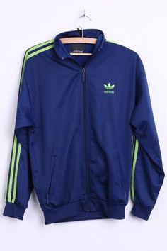 Adidas Mens S/M Sweatshirt Navy Lime Stripes Tracksuit Top Sport - RetrospectClothes