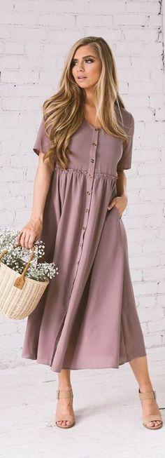 brown v neck pockets dress wrinkled blended long dress Modest Dresses, Modest Outfits, Modest Fashion, Casual Dresses, Fashion Dresses, Fashion Styles, Casual Outfits, Apostolic Fashion, Modest Clothing