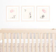 This listing is for three unframed 8x10 or A4 matching art prints for your baby nursery or kids room. These artworks are printed onto Archival