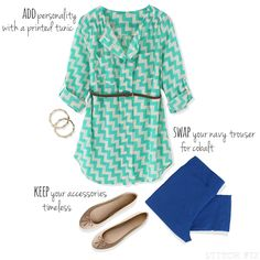 @Nesreen Mills Fix stylist - I really love this tunic (colors, pattern, style) + would be so pumped to pair it with the cobalt pants I already have/love. -k