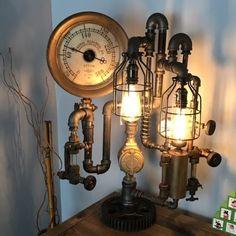 Steampunk-Industrial-Lamp-Man-Cave-Rustic-Unique-Lighting-Antique-Parts