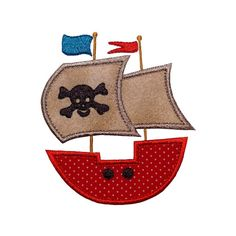 "Pirate Ship Appliques Machine Embroidery Designs Applique Patterns in 3 sizes 4"", 5"" and 6"""