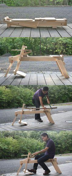"""Introducing """"the Zig-zag Horse"""", folding shaving horse with multi-angle zig-zag platform."""