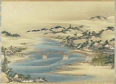 Bridge At Iwakuni  錦帯橋図  Japanese, Edo period  Attributed to Hasegawa Settan, Japanese, 1778–1843, Hanging scroll; ink and color on silk, MFA