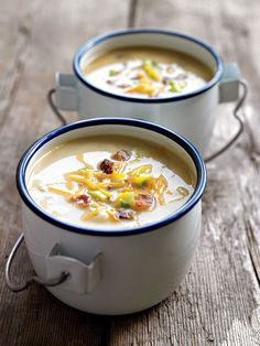 Best-Ever Fat-Burning Soups Baked Potato Soup – Pair this slimming and healthy soup recipe with a bowl of mixed greens and you've got dinner.Baked Potato Soup – Pair this slimming and healthy soup recipe with a bowl of mixed greens and you've got dinner. Healthy Soup Recipes, Diet Recipes, Healthy Snacks, Cooking Recipes, Eat Healthy, Microwave Recipes, Dinner Healthy, Juice Recipes, Recipes Dinner