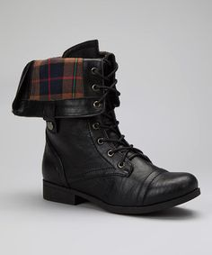 Take a look at this Black Fold-Over Freda Boot by Bumper on #zulily today!
