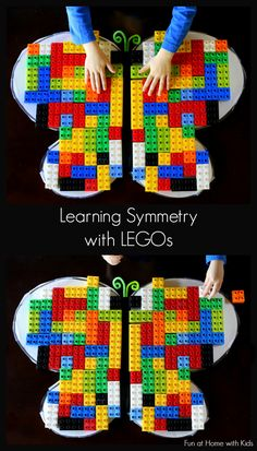 A fun and simple lesson on symmetry using LEGOs and a sticky- lego/duplo activity is always a hit Math Classroom, Kindergarten Math, Teaching Math, Homeschool Math, Math For Kids, Preschool Activities, Symmetry Activities, Space Activities, Sensory Activities