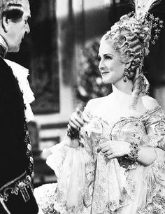 Norma Shearer and Henry Stephenson on set of Marie Antoinette