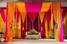 An Opulent, Oscar-Worthy Wedding at the Fairmont Royal York - WedLuxe Magazine Indian Wedding Theme, Desi Wedding Decor, Wedding Mandap, Indian Weddings, Wedding Stage Decorations, Backdrop Decorations, Backdrops, Engagement Decorations, Decoration Party