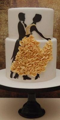 Dancers Wedding Cake (this is right up my alley!) Cake Decorating Tutorials (How To's) Tortas Paso a Paso Pretty Cakes, Cute Cakes, Beautiful Cakes, Amazing Cakes, Unique Cakes, Creative Cakes, Elegant Cakes, Food Cakes, Fondant Cakes