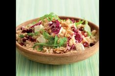 Couscous with goat cheese and cranberries Couscous, Goat Cheese, Quiche, Grains, Salads, Food And Drink, Vegetarian, Healthy Recipes, Cooking