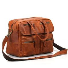 ad6b03cd3ae1 Handmade Dark Brown Top Grain Leather Briefcase Men s Business Handbag 15   Laptop  Bag 9002