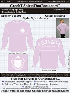 Delta Zeta Spirit Jersey  http://www.greekt-shirtsthatrock.com/ @Haley Spalding IS ON PINTERST!!! reppin omicron lambda!!!