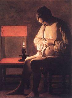 F27-hledá si blechy=LA TOUR, GEORGES DE WOMAN CATCHING FLEAS 1630S OIL ON CANVAS MUSÉE HISTORIQUE, NANCY, VIA WGA.