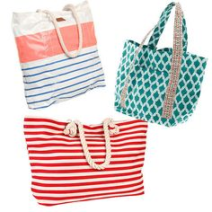 First, Start With a Great Bag: Three bright and fun options that we love for Summer: the coated canvas exterior of ONeills Beach Girl Beach Tote ($44) makes for easy cleaning, Roberta Roller Rabbits Beach Tote ($95) features a chic honeycomb pattern, and Hat Attacks Beach Stripe Tote ($98) even comes with a zip-out tablet case — perfect for the working mama.