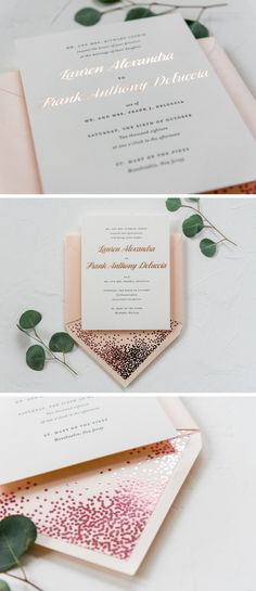 Fun Rose Gold Wedding Invitation Suite Foil