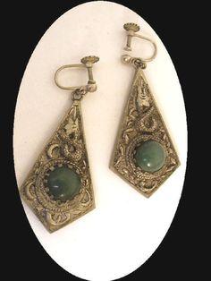Vintage jade Earrings Chinese  Chimera snake