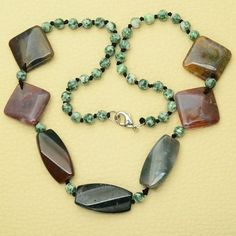 """20 7/8"""" NATURAL INDIAN AGATE,TREE AGATE GEMSTONE 18K WHITE GOLD PLATED NECKLACE #ChonibeadsCo"""