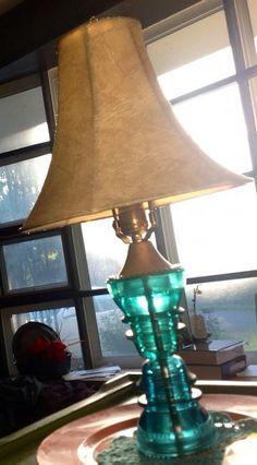 Glass Lamp Hemingray Insulators Emerald Green Rare Lighting by Lifelooklens on Etsy