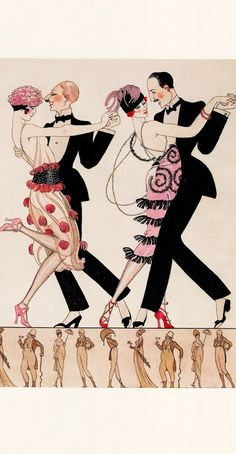 20's flappers dancing 'THE TANGO' (1920's) (Detail) in pen ink & watercolour on paper. GEORGES BARBIER (1882-1932) From ART DECO FASHION Masterpieces by Gordon Kerr 2012 (minkshmink)