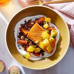 Recipe: Seared Salmon & Spicy Orange Salsa with Quinoa & Carrot Salad - Blue Apron Great Recipes, Healthy Recipes, Orange Salad, Carrot Salad, Blue Apron, How To Cook Quinoa, Sweet And Spicy, The Fresh, Carrots