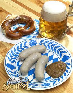 best bavarian breakfast: weisswurst, brezn and beer. I want to go back soooo bad! Bavarian Recipes, Bavarian Food, German Recipes, Octoberfest Party, Sausage Recipes, Canning Recipes, Best Breakfast, International Recipes, Dessert Recipes